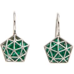 Brilliant Cut Emerald Pentagon Shaker Earrings (244.520 RUB) ❤ liked on Polyvore featuring jewelry, earrings, earring jewelry, emerald jewelry, emerald jewellery and emerald earrings