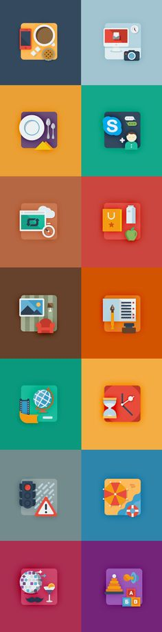 Flat timeline icons on Behance