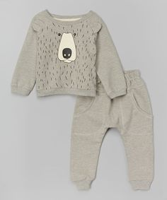 Love this Gray Bear Sweatshirt & Sweatpants - Infant, Toddler & Boys on #zulily! #zulilyfinds