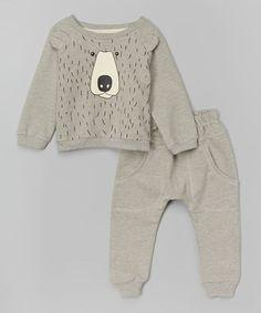 Love this Gray Bear Sweatshirt & Sweatpants - Infant, Toddler & Boys on #zulily! #zulilyfinds