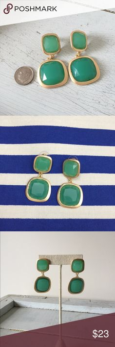"""SHOP THE MOON Statement Earrings You will look gorgeous in green wearing these square jewel earrings. Drop approx 1"""". Post back. Small jewel 0.75"""" large 1.25"""". Brand new but has tiny darker spot on one of the bottoms of the jewels (see pic 4) that isn't noticeable. Ask all your questions and let's get these beautiful earrings home to you! Shop the Moon Jewelry Earrings"""