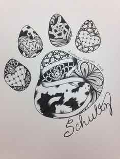 Pen and Ink Zentangle- Dog Paw Print by LCDesignsAndMore on Etsy