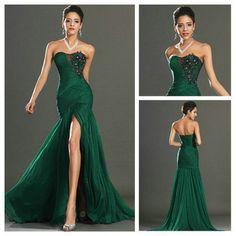 New Style 2013 Mermaid Black Embroidery Dark Green Chiffon Real Evening Dress $70.00