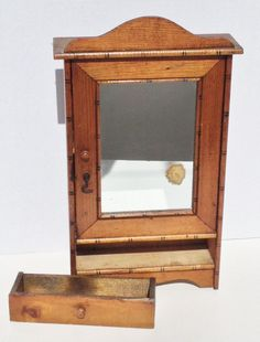 French Faux Bamboo Miniature Doll Armoire Salesman Sample this could make a lovely jewelery box.