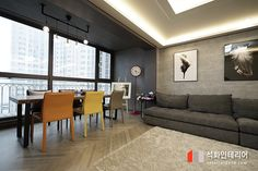 인더스트리얼인테리어 - 수영구 민락 롯데캐슬자이언트 45평 리모델링 / 무게감이 느껴지는 모던인테리어, 간접조명 활용 : 네이버 블로그 Living Room Designs, Conference Room, Divider, Floor Plans, Flooring, Table, Furniture, Home Decor, House