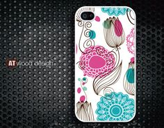 iphone 4 case iphone 4s case iphone 4 cover classic illustrator pink and blue flower graphic design printing. $16.99, via Etsy.