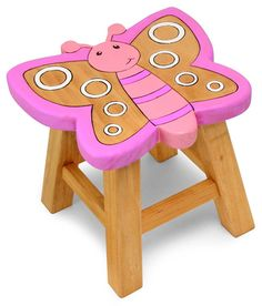 Childrens Wooden Stool Solid Pine Character Seat Step in Box Kids Diy Wooden Projects, Wooden Diy, Wood Crafts, Painting Kids Furniture, Wood Butterfly, Pink Butterfly, Kids Table And Chairs, Side Chairs, Woodworking Toys