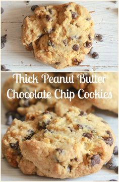 Thick Peanut Butter Chocolate Chip Cookies, so easy the best you will every eat…