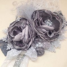 Platinum Rose over the top headband couture by ChloeRoseCouture