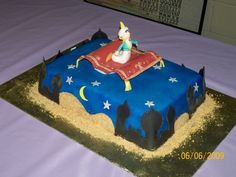 Aladdin Cake I made this cake in my cake class, I'm very hapy with the way it came out.All fondant, Jasmine Birthday Cake, Aladdin Birthday Party, Aladdin Party, Boy Birthday Parties, 5th Birthday, Birthday Cakes, Shimmer And Shine Cake, Aladdin Cake, Disney Cakes