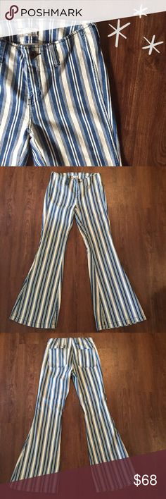 """Free People Bell Bottom Demin Awesome pair of pants! Great condition!9"""" front rise, 13.5 back rise, 30"""" waist 33"""" inseam, flare opens 12.5"""" 99% cotton 1% spandex  Need any other information? Measurements? Materials? Feel free to ask! Don't be shy, I always welcome reasonable offers! Fast shipping! Same or next day! Sorry, no trades!  Happy Poshing!☺️ Free People Pants"""
