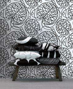 Shop Marimekko wallpaper in classic and contemporary prints & easy-to-install two-piece wall murals. Marimekko Wallpaper, Marimekko Fabric, Black Wallpaper, Wall Wallpaper, Feature Wallpaper, Graphic Wallpaper, Scandinavia Design, Interior Decorating, Interior Design