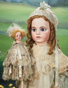 All-Original Luxury French Party Musical Marotte with Bisque Doll Head