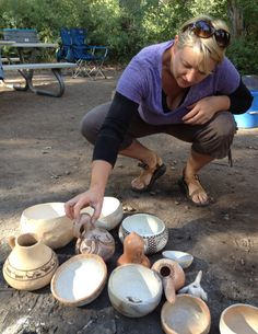 Pots made by pottery workshop participants in August 2012.  Fremont Indian State Park and Museum, Utah.