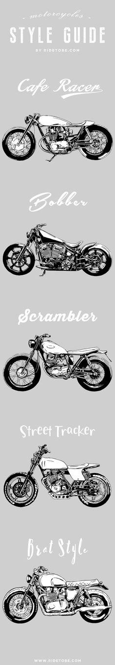 Motorcycles Style Guide: cafe racer, bobber, street tracker, scrambler, bobber