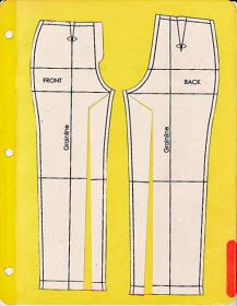 Cation Designs: Pants Pattern Alterations- If the grain lines angle in toward each other in a V, the above correction is necessary to accommodate the angle at which your legs exit your pelvis. Sewing Pants, Sewing Clothes, Diy Clothes, Altering Pants, Altering Clothes, Techniques Couture, Sewing Techniques, Pattern Cutting, Pattern Making