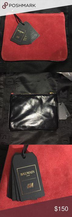Balmain X H&M genuine leather clutch Balmain X H&M genuine leather clutch, never used. Balmain Bags Clutches & Wristlets