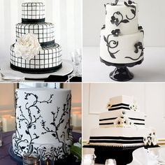 black and white wedding cakes pictures gallery