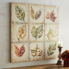 """""""To everything there is a season,"""" an oft-quoted line brought to colorful life in our hand-painted canvas. This patchwork of leaves in varying stages of spring, summer and fall pays respectful tribute to the notion that nature is full of inspiration, renewal and reflection."""