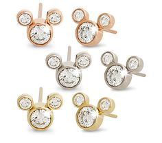 Way cute Mickey Mouse diamond earrings in 14K white, rose, or yellow gold.