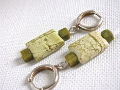 Yellow Turquoise and Silver Earrings - pinned by pin4etsy.com