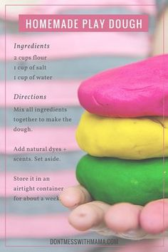 Homemade Natural Play Dough Recipe - It's so easy to make + add natural dyes and scents like Orange, Peppermint, and Lemon to make playdough time fun - preschool activities Kids Crafts, Toddler Crafts, Crafts To Do, Baby Crafts, Crafts For Toddlers, At Home Crafts For Kids, Fun Easy Crafts, Adult Crafts, Preschool Crafts