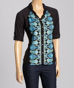 Look what I found on #zulily! Black & Blue Abstract Scalloped Button-Up Blouse by OneWorld #zulilyfinds