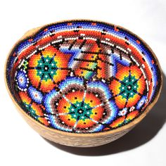 Intricate Huichol Indian Carved and Beaded Prayer bowl. These bowls are made from a cut gourd and decorated with tiny seed beads using a mixture of beeswax to affix the beds. Unusual but this gourd ha Native American Pottery, Native American Art, Decorative Gourds, Native Beadwork, Gourd Art, Mexican Folk Art, Native Art, Cute Crafts, Mexican Designs