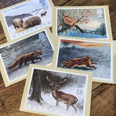Wintertime Postcards, vintage Post Office Postage Stamp Cards, PHQs for the winter season, fallow deer, the hare, the fox, sheep in snow Christmas Books, Vintage Christmas, Christmas Cards, Postcards For Sale, Vintage Postcards, Winter Time, Winter Season, Fallow Deer, Post Office