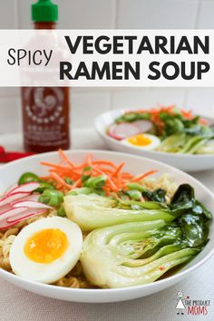 Make this Spicy Vegetarian Ramen Soup Recipe! A satisfying Vegetarian Ramen Soup with umami and loads of fresh veggies! Healthy Soup Recipes, Vegetable Recipes, Vegetarian Recipes, Vegetarian Cooking, Vegetarian Dinners, Drink Recipes, Healthy Meals, Delicious Recipes, Vegetarian Ramen