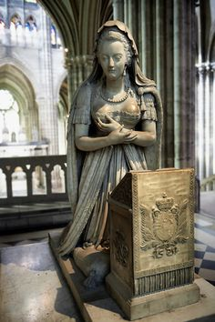 Tomb monument of  Marie Antoinette (1755 - 1793) Queen of France and wife of Louis XVI. The Gothic Cathedral Basilica of Saint Denis,  Paris