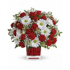 @ $.......This simply sweet #Flowers #bouquet is delicately arranged in our ruby #red glass cube. It's a #gift that she will always remember!