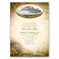 all aboard destination wedding invitation | cruise ship wedding invites at Invitations By Dawn