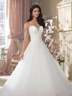 David Tutera for Mon Cheri | Style No. › 214215 | Wedding Dresses 2014 Collection – Strapless hand-beaded embroidered metallic lace, tulle a...