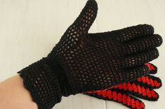 Black Crochet Gloves, Cotton Good look with all ladies daywear designs. Crochet Gloves, Fingerless Gloves, Arm Warmers, Handmade Items, Lady, Unique, Cotton, Design, Fashion