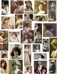 decoupage paper collage sheets vintage women black white photos