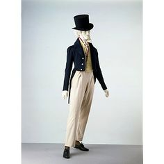 1820-1830: Trousers were working-class dress in 18th-century Britain, worn mainly by sailors and miners. They were also worn by little boys during the period 1750-1800 as part of a boy's 'skeleton suit'. However, when the Prince of Wales (from 1820 George IV) wore a pair to stroll in along the beach at Brighton, Sussex, trousers became fashionable informal daywear for men. This pair retains the fall-front closing found on 18th-century breeches. By the 1820s trousers were acceptable day wear.