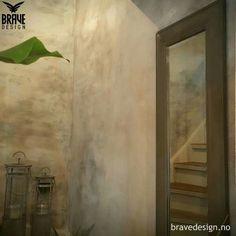 Concrete looking walls painted in Vintro supreme colors Dove and Midnight.  #vintrokalkmaling #vintrochalkpaint #vintrokalkmalingnorge #vintro_paint #bravedesign #oppussing #concrete #wallpaint #walldecor #paintedwalls #kalkmaling #betongeffekt