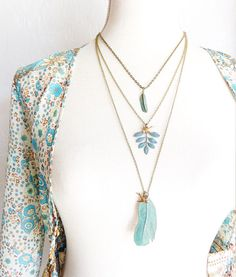 Verdigris Feather Necklace  Green Patina Feather Necklace