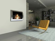 Chelsea Fireplace- Stainless Steel #anywherefireplace #fireplace #interiors #design #homedecor #interiorhomescapes #interiorhomescapes.com #interior homescapes
