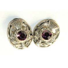 Scottish Thistle Silver Coloured Sparkly Purple Rhinestone Diamante... ❤ liked on Polyvore featuring jewelry, earrings, long clip on earrings, vintage clip earrings, vintage rhinestone jewelry, rhinestone earrings and long rhinestone earrings