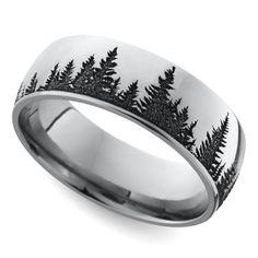 Laser Carved Forest Pattern Men's Wedding Ring in Cobalt