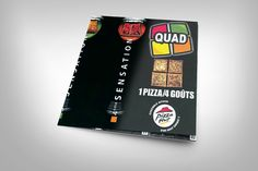 Création et conception des dépliants 4 volets pour l'enseigne Pizza Hut. Impression des supports et livraison des fichiers.
