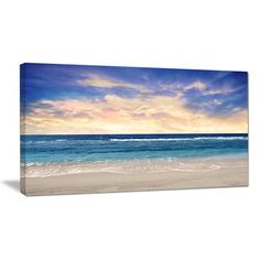 DesignArt Clear Blue Sky and Ocean at Sunset Photographic Print on Wrapped Canvas & Reviews | Wayfair.ca
