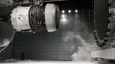 Steam rises from the heated pad below a GEnx engine, following a nighttime ice test at GE Aviation in Winnipeg, Canada. Temperatures were around -20 degrees F. #GIF