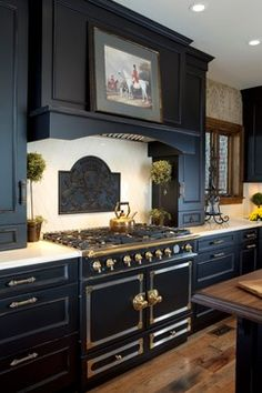 10 Colorful Kitchens ~ This one has black painted cabinets. See the other 9 kitchens.