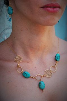 Gold Turquoise Necklace Turquoise Statement Necklace by ELITALSHOP