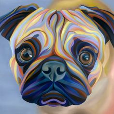 A cute colorful pug painting by Kate Hoyer