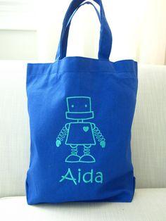 Personalized Kids Robot Tote Bag - Monogrammed Kids Flamingo Bag