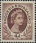 Rhodesia and Nyasaland, 1.7.1954, Queen Elizabeth II. No.6 4P brown, Stamped 2,70 USD, Mint Condition 20,26 USD.